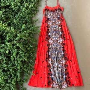 Intimately Free People Floral Red Midi Dress
